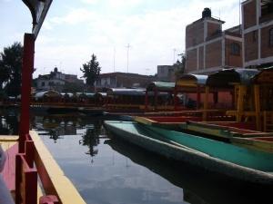 Xochimilco - boats parked at the Embarcadero
