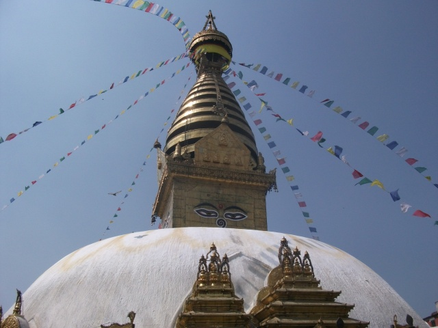 the top of the stupa at Swayambhu